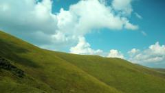 4K Timelapse of clouds and beautiful green mountains. Video without birds - stock footage