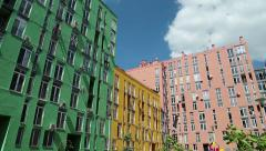 Buildings with many-coloured facades Stock Footage
