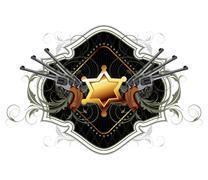 sheriff star with guns ornate frame - stock illustration