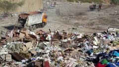 Garbage truck on the dump Stock Footage