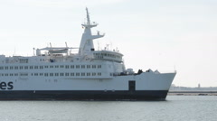 Scandlines ferry ship leaving harbor of Warnemünde Stock Footage