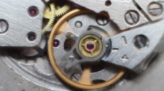 Old Stopwatch Clock Gears Mechanism Stock Footage
