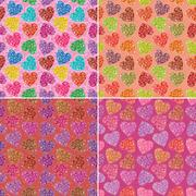 Stock Illustration of Set of valentine hearts seamless patterns