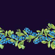Botanical Seamless Border with Blueberries Stock Illustration