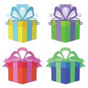Gift box square, set Stock Illustration