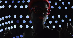 Red Head Turning LED Glasses  Lights 2 Remix Stock Footage