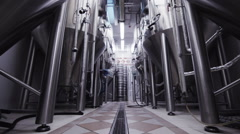 The modern brewery beer steel large tanks in laboratory Stock Footage