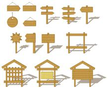 Stock Illustration of Wood billboards and signs
