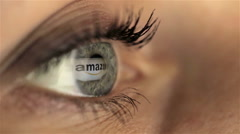 Woman girl eye macro looking monitor, online shoping Internet amazon Stock Footage