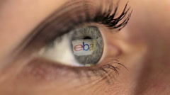 Woman girl eye macro looking monitor, online shoping Internet ebay - stock footage