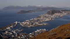 Aalesund, Ålesund,Norway, from  Sukkertoppen Stock Footage