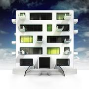 Apartment building project development at night scene illustration Stock Illustration