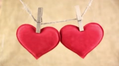 Red Heart with Clothespin Stock Footage