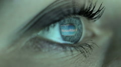 Woman girl eye looking monitor, surfing Internet social network twitter - stock footage