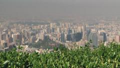 Stock Video Footage of View to the Santiago city from the San Cristobal hill in Santiago, Chile.