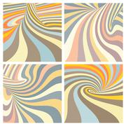 Set of colorful striped projection on torus. Abstract 3d backgro - stock illustration