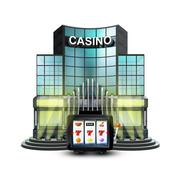 One armed bandit in front of isolated illuminated casino illustration Stock Illustration
