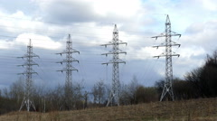 Power lines (4 masts) 4K Stock Footage