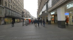 The Busy Prince Mihailo Street in Belgrade Stock Footage