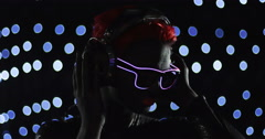 Red Head Gril Headphone LED Glasses Remix Stock Footage
