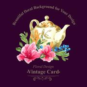 Invitation Vintage Card with Blueberries, Pink Tropical Flowers and Teapot - stock illustration