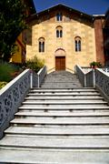 Church  in  the tradate old   closed  sidewalk italy  lombardy Stock Photos