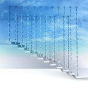 Chain hanged stair steps to go up to sky render illustration Stock Illustration
