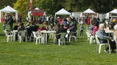 Food area Sakura Festival Van Dusen Garden Vancouver BC Canada Stock Footage