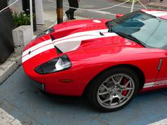 Partial front view of a Ford GT in a Lima show Stock Photos