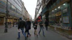 Prince Mihailo Street in a cloudy day in Belgrade Stock Footage