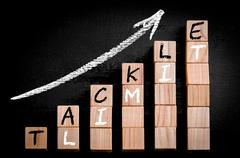 Message TACKLE LIMIT on ascending arrow above bar graph of Wooden small cubes - stock photo