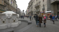 Taking a walk on Prince Mihailo Street in Belgrade Stock Footage