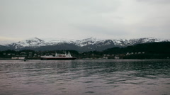 The hurtigruten, or 'fast window' arriving in Ålesund, Norway Stock Footage