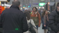 Men and women walking on the street in Belgrade, Serbia Stock Footage