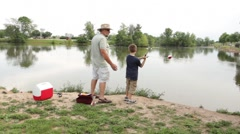 Stock Video Footage of Fishing with Grandpa