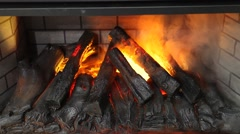 Artifical electronic fireplace Stock Footage