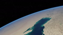 Stock Video Footage of Orbital flyover of the Persian Gulf (cloudless)