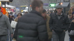 Walking on the street in Belgrade in Serbia Stock Footage