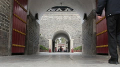 Ancient city gate to Confucius temple in Qufu Stock Footage