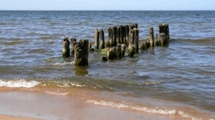 The breakwater on the Beach on the Baltic sea - stock footage