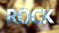 Title ROCK concert festival music written on background crowd of band star fan Stock Footage