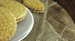 Portion of Cream Cookies (not loopable) Stock Footage