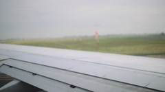 Airplane about to take off.  Shot from inside of plane. Stock Footage