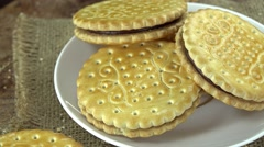 Heap of Cream Cookies Stock Footage