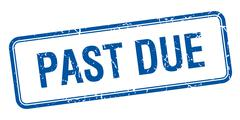 past due blue square grungy vintage isolated stamp - stock illustration