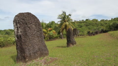 Ancient Stone Pillars in Historical Park - PALAU Stock Footage