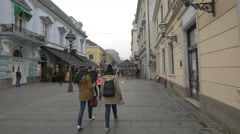 Shopping on Prince Mihailo Street in Belgrade Stock Footage