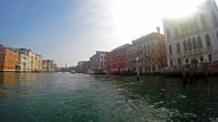 Tourist POV to vaporetto water buss traffic at Grande Stock Footage