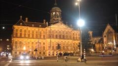 Dam Amsterdam Nighttime timelapse Stock Footage