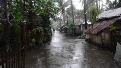 Typhoon Seniang hitting the poor aera of Malandog in Philippines Stock Footage